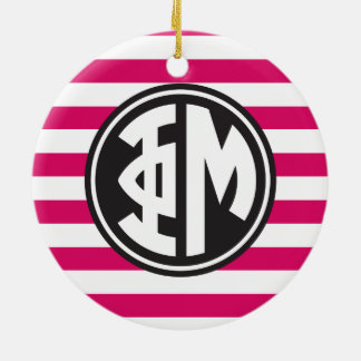 Phi Mu | Monogram Stripe Pattern Christmas Ornament