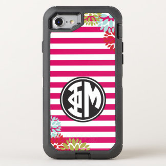 Phi Mu | Monogram Stripe Pattern OtterBox Defender iPhone 8/7 Case