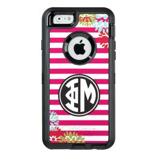 Phi Mu | Monogram Stripe Pattern OtterBox Defender iPhone Case