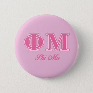 Phi Mu Pink Letters 6 Cm Round Badge