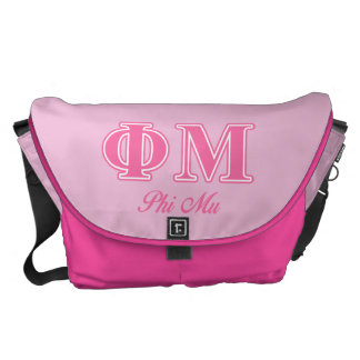 Phi Mu Pink Letters Messenger Bags