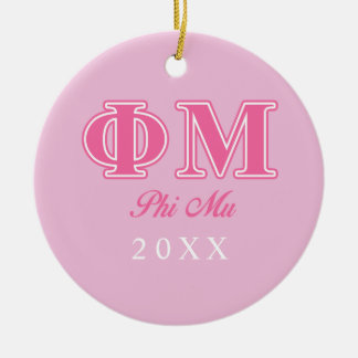 Phi Mu Pink Letters Round Ceramic Decoration