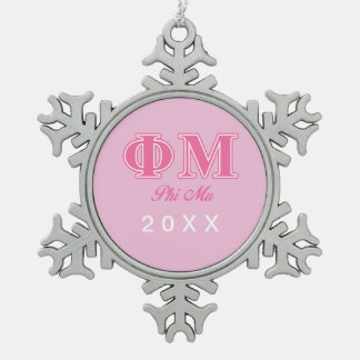 Phi Mu Pink Letters Snowflake Pewter Christmas Ornament