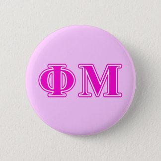 Phi Mu Pink/Purple Letters 6 Cm Round Badge