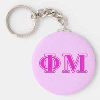 Phi Mu Pink/Purple Letters Basic Round Button Key Ring