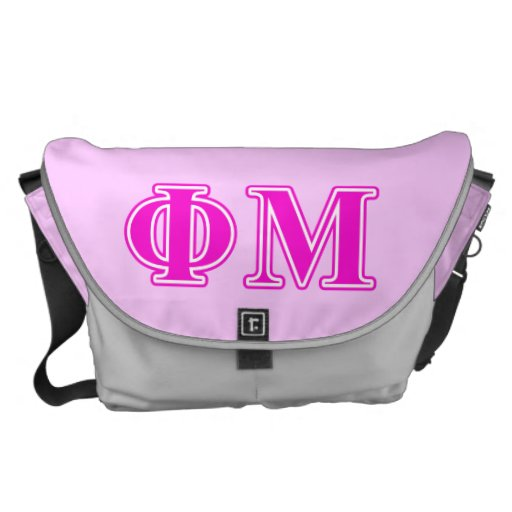 Phi Mu Pink/Purple Letters Courier Bag