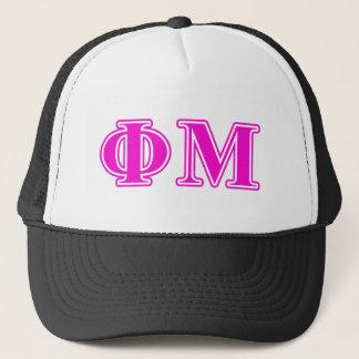 Phi Mu Pink/Purple Letters Trucker Hat