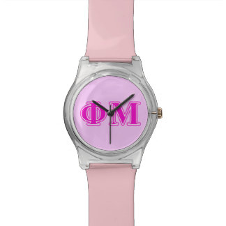 Phi Mu Pink/Purple Letters Watch