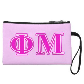 Phi Mu Pink/Purple Letters Wristlets