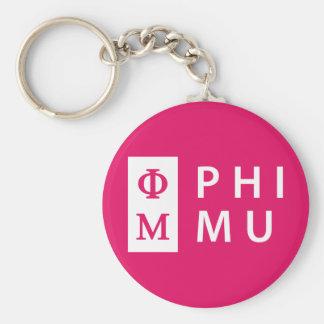 Phi Mu Stacked Key Ring