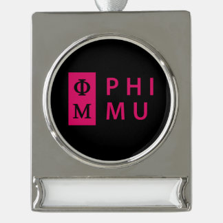 Phi Mu Stacked Silver Plated Banner Ornament