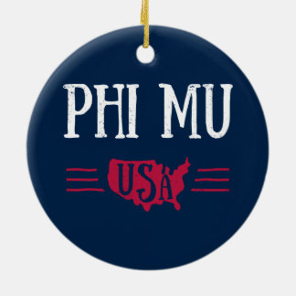 Phi Mu - USA Christmas Ornament