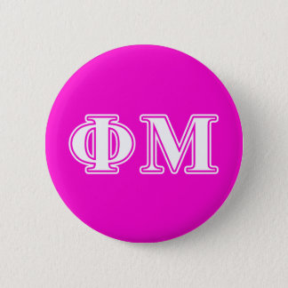 Phi Mu White Letters 6 Cm Round Badge