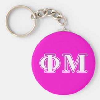 Phi Mu White Letters Basic Round Button Key Ring