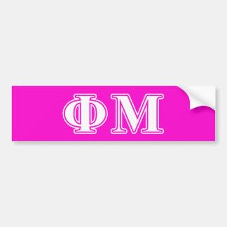 Phi Mu White Letters Bumper Stickers