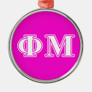 Phi Mu White Letters Christmas Ornament