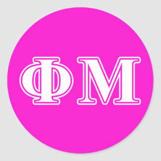 Phi Mu White Letters Classic Round Sticker