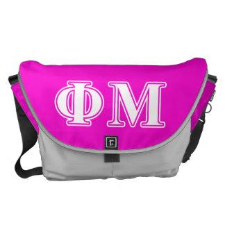 Phi Mu White Letters Messenger Bags