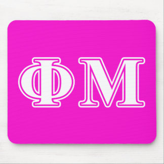 Phi Mu White Letters Mouse Pad