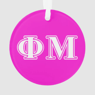 Phi Mu White Letters Ornament