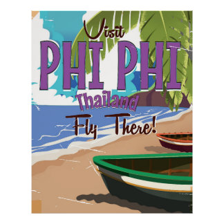 Phi Phi thailand vintage travel poster
