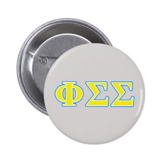 Phi Sigma Sigma Blue and Yellow Letters 6 Cm Round Badge
