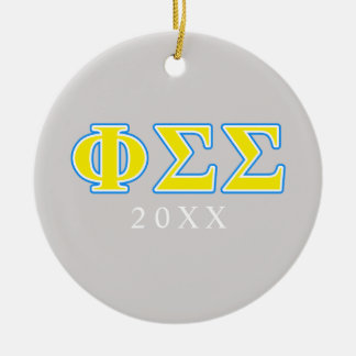 Phi Sigma Sigma Blue and Yellow Letters Christmas Ornament