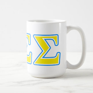 Phi Sigma Sigma Blue and Yellow Letters Coffee Mug