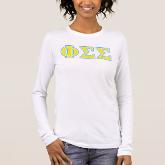 Phi Sigma Sigma Blue and Yellow Letters Long Sleeve T-Shirt