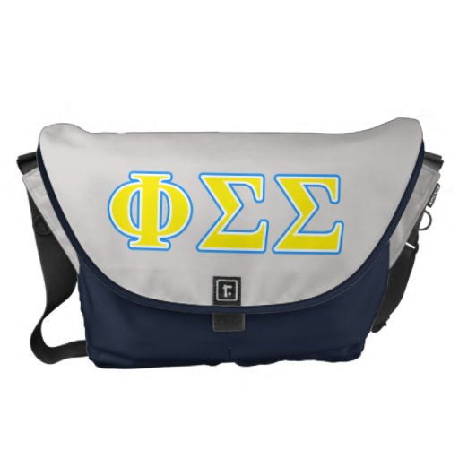 Phi Sigma Sigma Blue and Yellow Letters Courier Bags