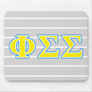 Phi Sigma Sigma Blue and Yellow Letters Mouse Pad