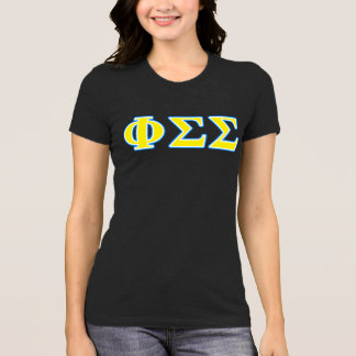 Phi Sigma Sigma Blue and Yellow Letters T-Shirt
