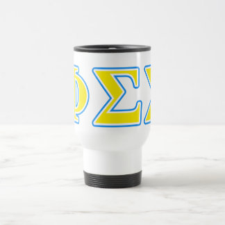 Phi Sigma Sigma Blue and Yellow Letters Travel Mug