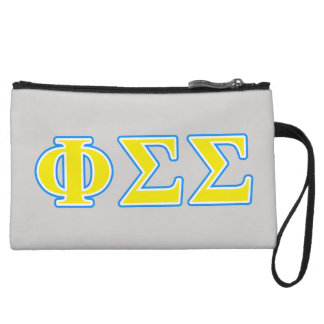 Phi Sigma Sigma Blue and Yellow Letters Wristlet Clutch