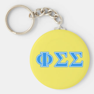 Phi Sigma Sigma Blue Letters Basic Round Button Key Ring