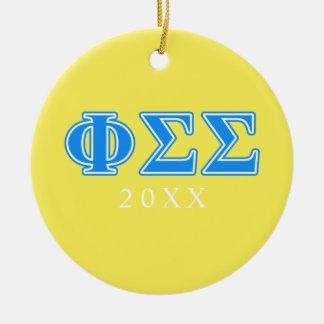 Phi Sigma Sigma Blue Letters Christmas Ornament