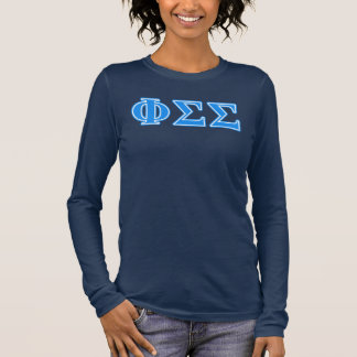 Phi Sigma Sigma Blue Letters Long Sleeve T-Shirt