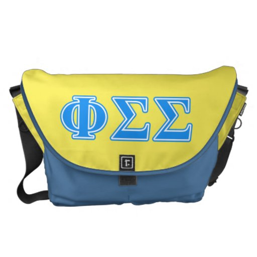 Phi Sigma Sigma Blue Letters Courier Bag