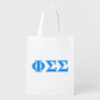 Phi Sigma Sigma Blue Letters Grocery Bags