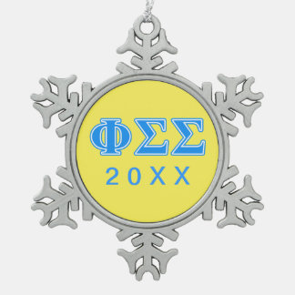 Phi Sigma Sigma Blue Letters Snowflake Pewter Christmas Ornament