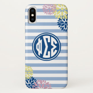 Phi Sigma Sigma | Monogram Stripe Pattern iPhone X Case