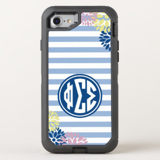 Phi Sigma Sigma | Monogram Stripe Pattern OtterBox Defender iPhone 8/7 Case