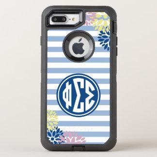 Phi Sigma Sigma | Monogram Stripe Pattern OtterBox Defender iPhone 8 Plus/7 Plus Case