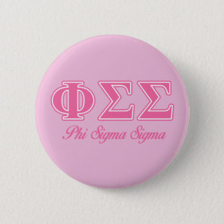 Phi Sigma Sigma Pink Letters 6 Cm Round Badge