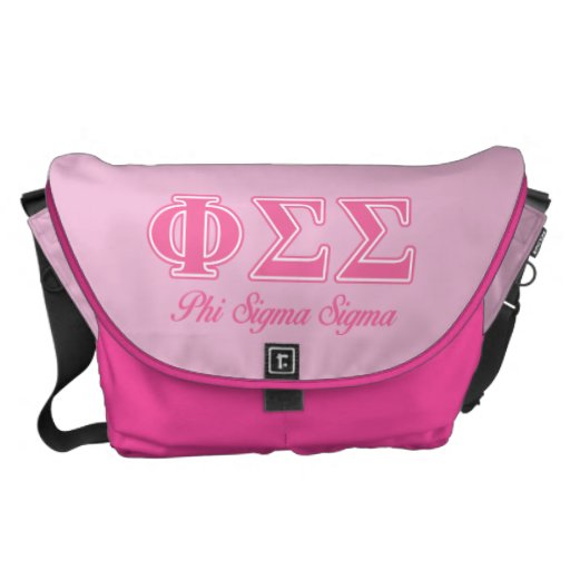 Phi Sigma Sigma Pink Letters Messenger Bags