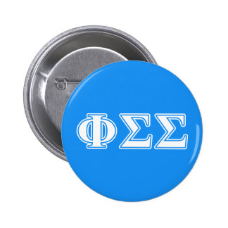 Phi Sigma Sigma White and Blue Letters 6 Cm Round Badge
