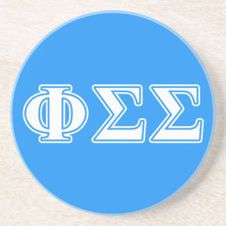 Phi Sigma Sigma White and Blue Letters Beverage Coasters