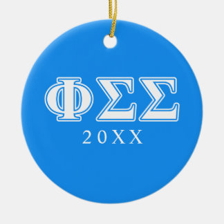 Phi Sigma Sigma White and Blue Letters Christmas Ornament
