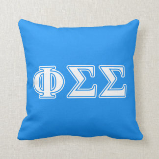 Phi Sigma Sigma White and Blue Letters Cushion
