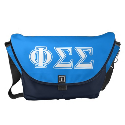 Phi Sigma Sigma White and Blue Letters Messenger Bags